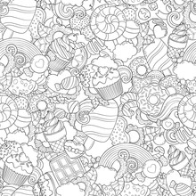 Doodle Vector Illustration, Abstract Background, Texture, Pattern, Wallpaper, Collection Of Sweets, Desserts, Ice Cream, Candy Elements Set. Freehand Sketch For Adult Anti Stress Coloring Book Page