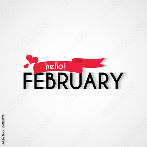 Creative typography greetings of new month hello february lettering creative typography greetings of new month hello february lettering vector illustration with ribbon m4hsunfo