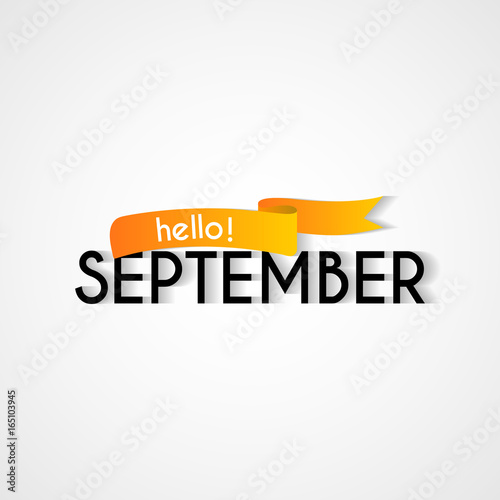 Creative typography greetings of new month hello september creative typography greetings of new month hello september lettering vector illustration with ribbon m4hsunfo