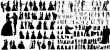 Vector, Big Set Of Wedding Silhouettes