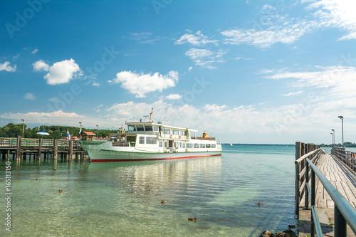 Chiemsee lake ferry ship docked at Men's Island (Herreninsel), Bavaria, Germany