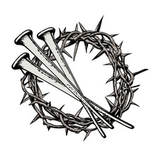 The Crown Of Thorns With The Nails Of Jesus Christ. Symbols Of C