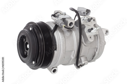 Photo automotive air conditioning compressor on a white
