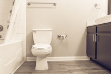 White Flush Toilet Bowl With Shower Curtain, Tub And Empty Roll On Toilet Paper Holder. Modern Bathroom Interior In America. Empty Toilet Roll, Concept For Unexpected, Emergency, Humor. Vintage Tone.