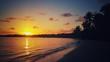 Sunset over the tropical island beach Punta Cana
