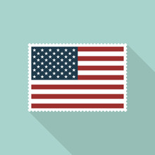 United States Flag Postage Stamp With Long Shadow On Blue Background, Flat Design Style. Vector Illustration Eps 10.