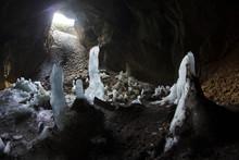 Ice Stalagmite In Cave