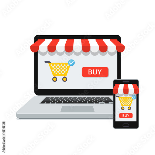 Fotografie, Obraz  Online shopping concept with open laptop and smartphone