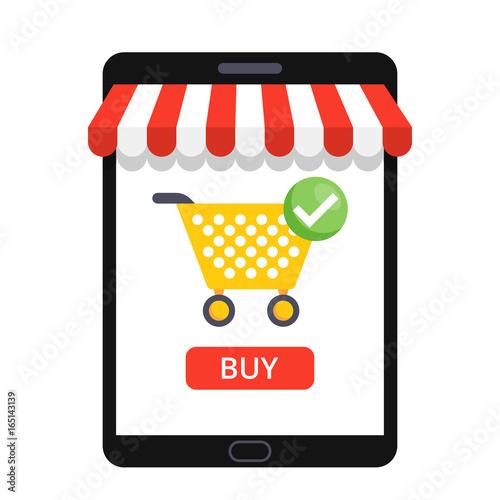 Obraz na plátně  Online shopping concept with open tablet and online shop