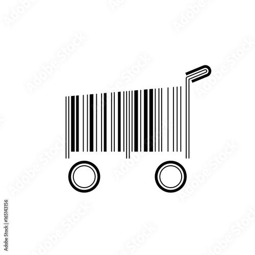 Fotografie, Obraz  Barcode shopping cart, vector illustration on white background