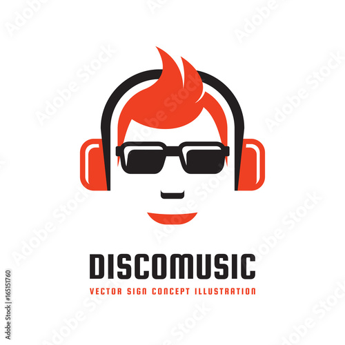 Disco music - vector logo template concept illustration in