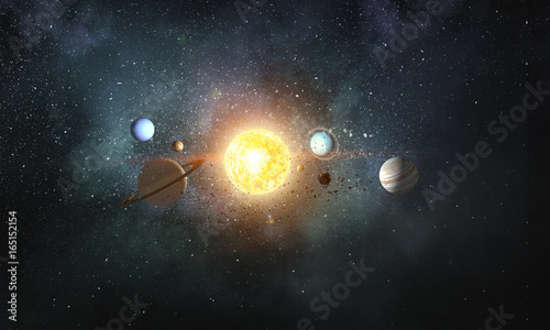 Fototapeta Solar system planets . Mixed media