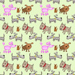 A pattern of dogs in the style of children's drawings 1