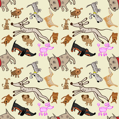 A pattern of dogs in the style of children's drawings 6