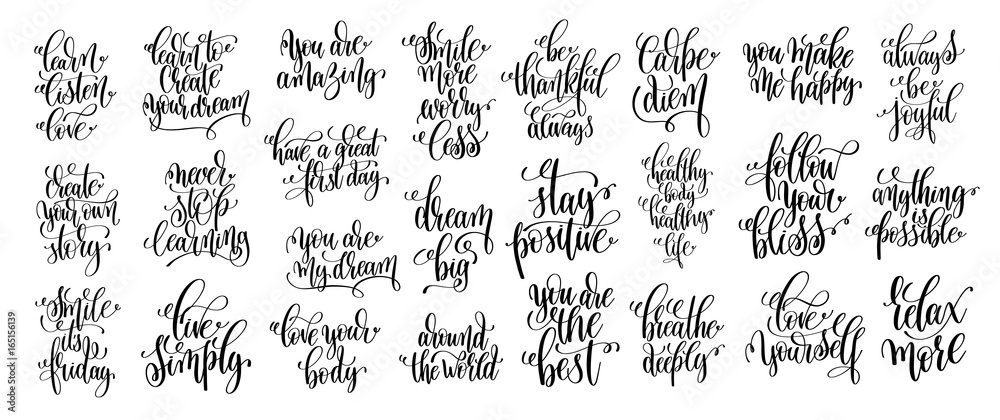 Fototapeta set of 25 hand lettering positive phrases, black and white inspi