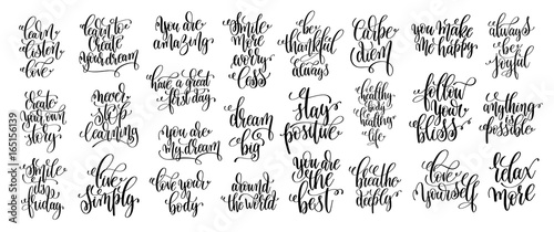 Staande foto Positive Typography set of 25 hand lettering positive phrases, black and white inspi