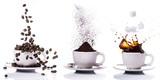 Fototapeta Kawa jest smaczna - preparazione del caffè in sequenza dal chicco alla tazzina