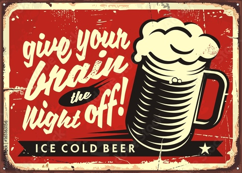 Plakaty do baru - pubu vintage-vector-illustration-with-beer-glass-on-red-background
