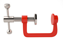 Red G Clamp On White Backgroun...