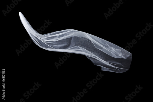Fotomural wedding white Bridal veil isolated on black background
