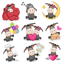 Set Of Cute Cartoon Donkey