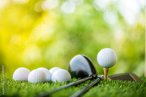 Acrylic Prints Golf golf ball on tee ready to practice