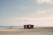 Lifeguard And First Aid Station At A Lonely Beach