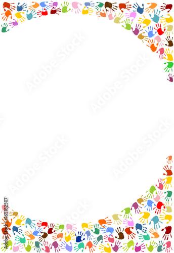 Rahmen, Hintergrund aus bunten Handabdrücken.