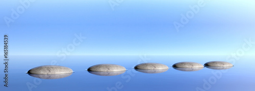 Photo Stands Zen Zen stones on a blue sky and sea background. 3d illustration