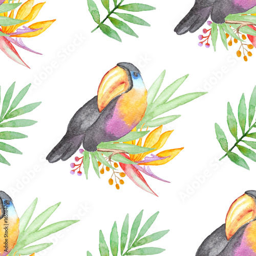 Watercolor tropical pattern