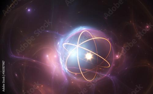 Photo  Atom nuclear model on energetic background, illustration