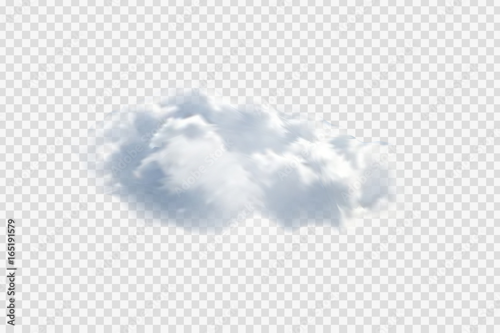 Fototapeta Vector realistic isolated cloud on the transparent background.