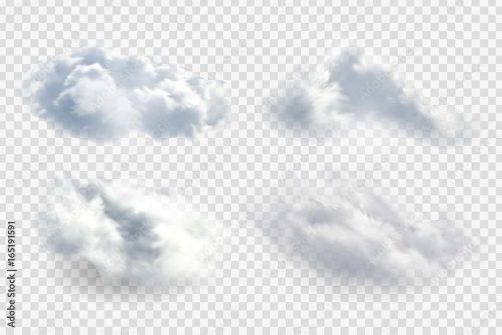 Fototapety, obrazy: Vector realistic isolated cloud on the transparent background.