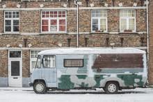 Old Caravan Car In The Snow