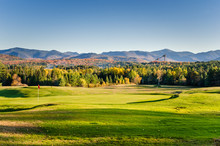 Golf Course In A Mountain Landscape At Sunset. Lake Placid, NY