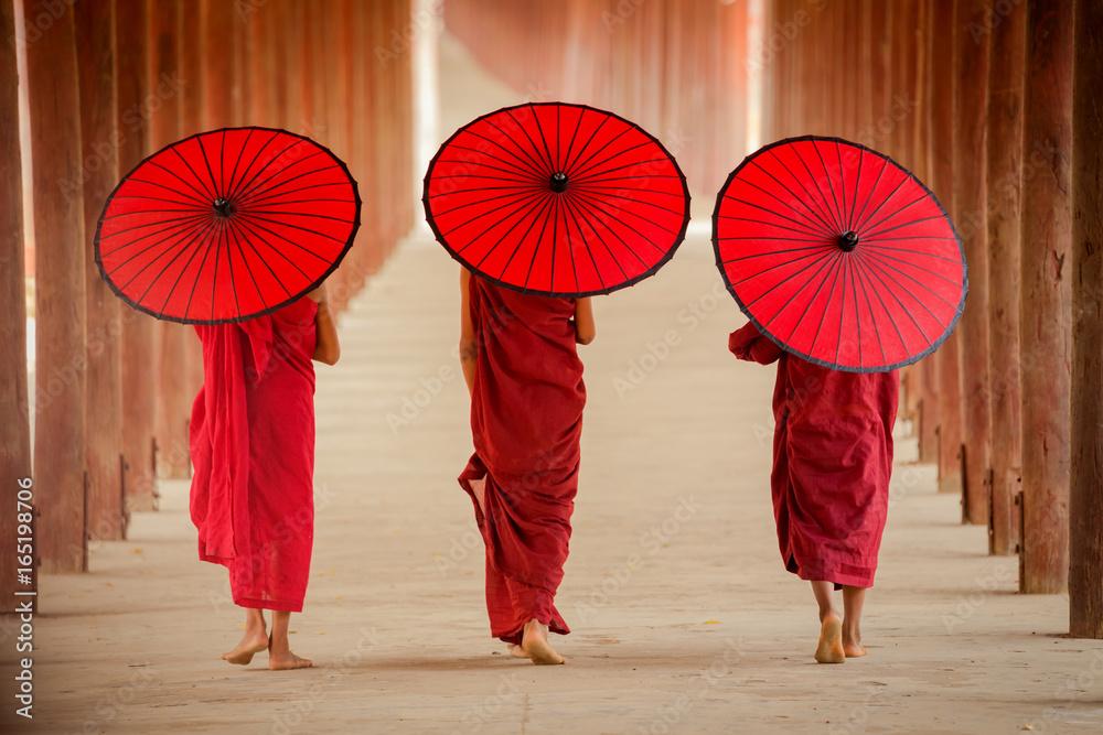 Fototapety, obrazy: Myanmar Novice monk walking together in ancient pagoda Bagan Mandalay