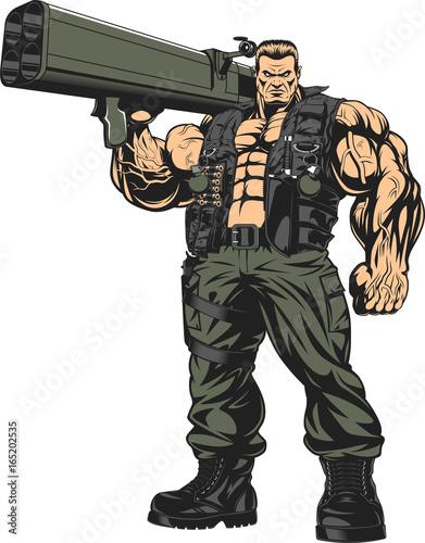 Fotografía  Armed strong soldier