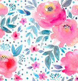 Watercolor floral pattern and seamless background.  Hand painted. Gentle design for fabric, wrap paper or wallpaper. Raster illustration. - 165203722