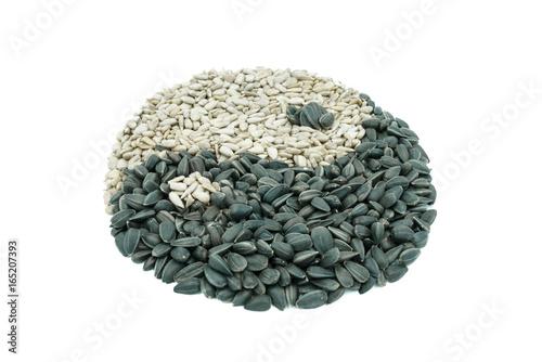 Plakat Yin-Yang symbol nasion słonecznika.