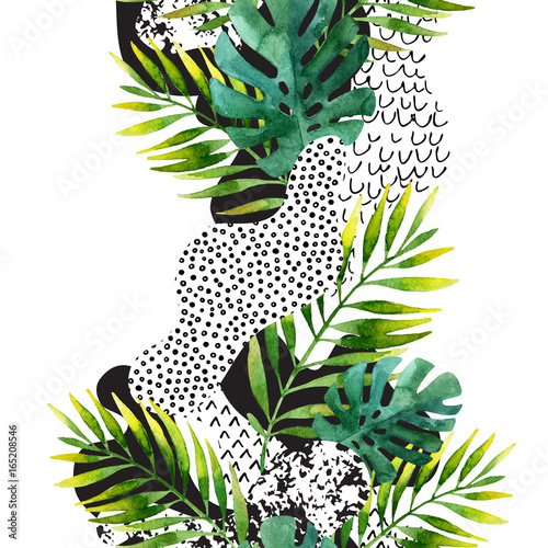 Photo sur Toile Empreintes Graphiques Abstract summer tropical leaves background.