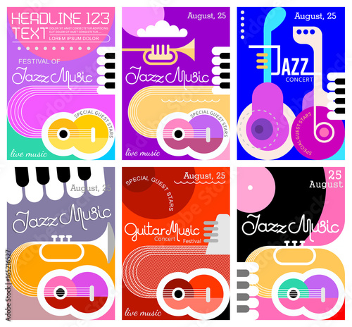 In de dag Abstractie Art Music Festival poster designs
