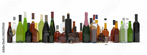 Fotografía  Collection of alcoholic bottles isolated 3d rendering