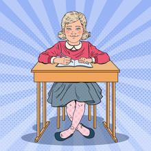 Pop Art Schoolgirl Sitting At ...