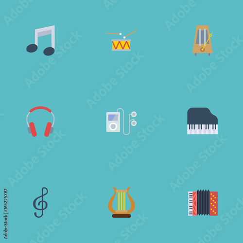 Flat Icons Quaver, Octave Keyboard, Mp3 Player And Other