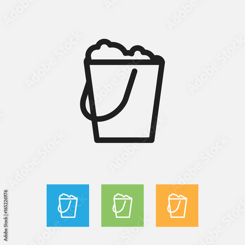 Photo Vector Illustration Of Cleaning Symbol On Pail Outline