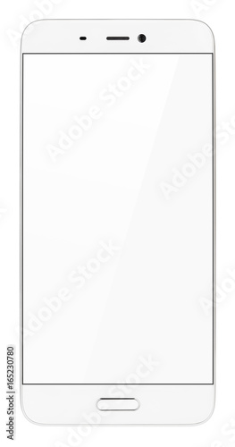 Front view of modern white smartphone with empty screen isolated on white background Wallpaper Mural
