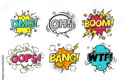 Comic speech bubbles set with different emotions and text BOOM, OMG, OH, BANG, OOPS, WTF Canvas Print