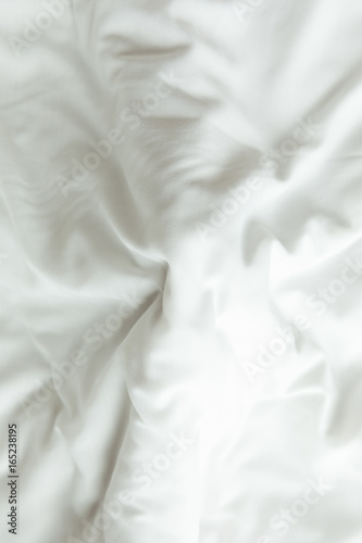 Fotografie, Obraz  Top view of white bedding sheets after wake up in the morning