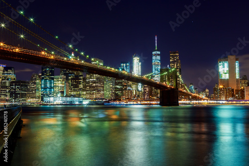Garden Poster Buenos Aires Brooklyn Bridge and Manhattan Skyline Night, New York City