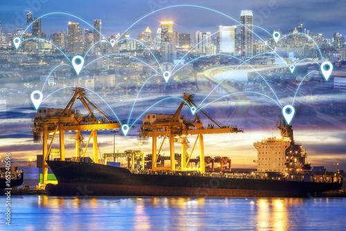 Zdjęcie XXL Logistyka i transport kontenera Port cargo z działającym logistycznym importem i eksportem z technologią City Link